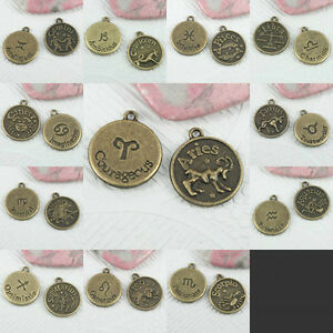 A set of (12kind) constellations CHARMS in antiqued bronze tone Assorted FASHION