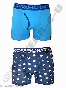 2PR PACK MENS FASHIONABLE CROSSHATCH BLUE BOXER SHORT. S,M,L,XL NOVELTY FUNNY