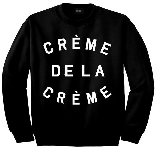 CREME DE LA CREME CREWNECK SWEATSHIRT WOMENS BLACK FAMOUS FASHION HIGH KINGS NY