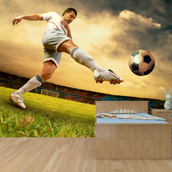 Football player wallpaper mural boys bedroom design wm131