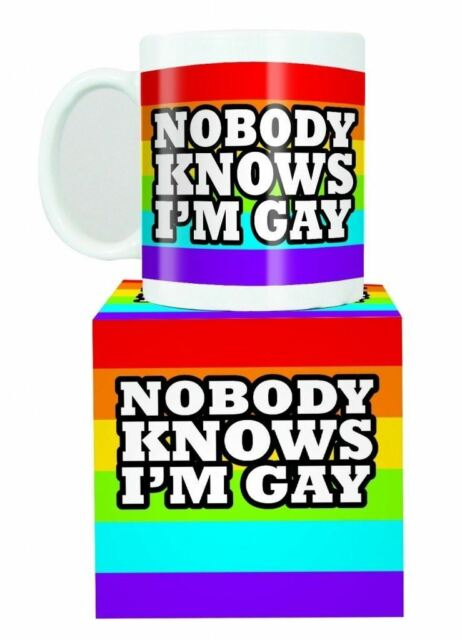Nobody Knows I'm Gay Mug Rainbow Design Tea Coffee Cup Kitchenware