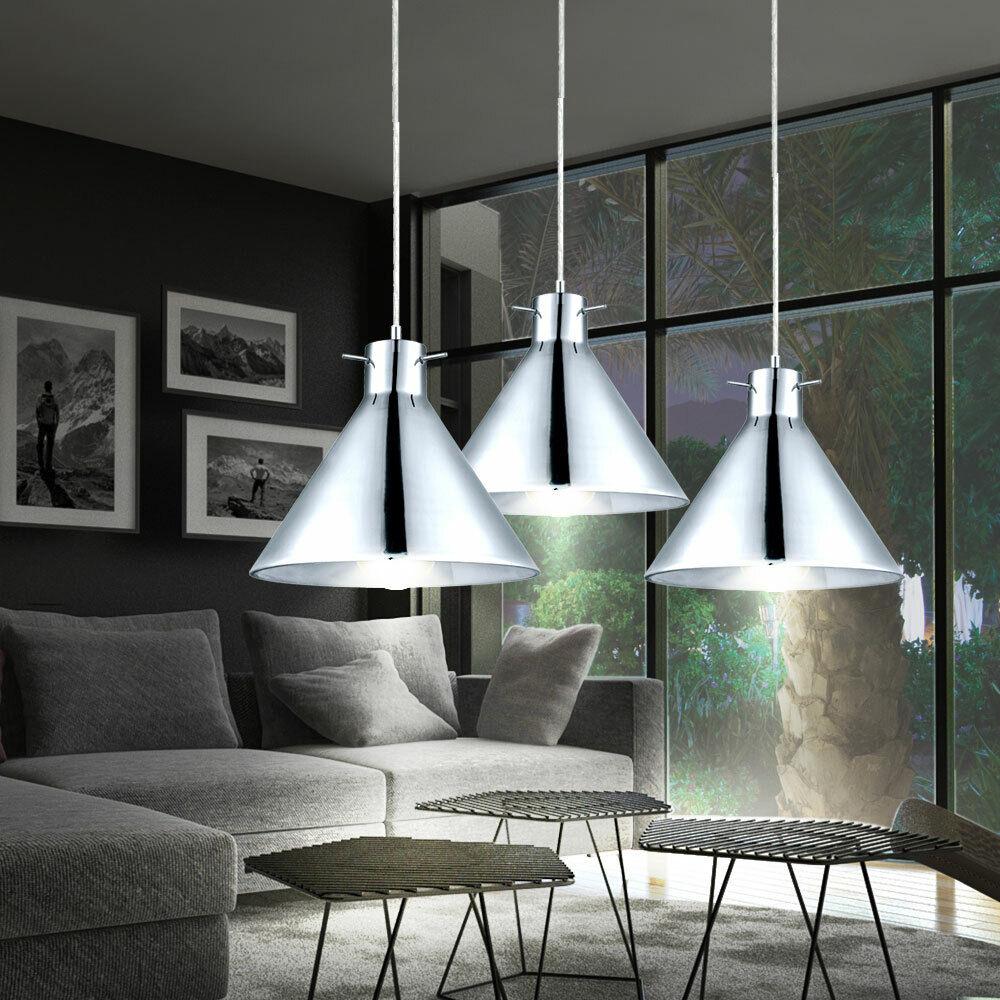 Set of 3 LED Pendant Lights Glass Living Room Lighting Chrome Hanging Lights new