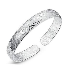 Fashion-Women-925-Silver-Plated-Jewelry-Elegant-Bangle-Cuff-Bracelet-Wristband