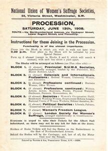 1908 Poster Vintage Suffragette Propaganda WOMEN/'S SUFFRAGE LONDON PROCESSION