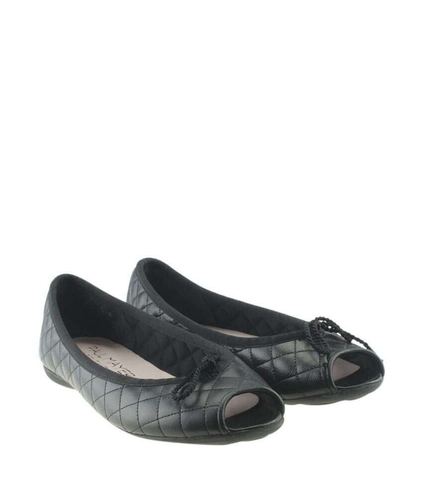 Paul Mayer Bay Brighton Brighton Brighton Black Quilted Leather Flats, Size 7 908aea