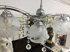 Kronleuchter 3 Armen Königlicher Lüster Hängeleuchte Lampen Licht mit Glas Kugel