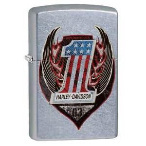 Zippo-Windproof-Lighter-Number-One-Harley-Davidson-Symbol-Street-Chrome-29347