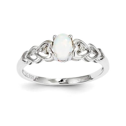 925 Sterling Silver Diamond /& ovale Créé Opal octobre Stone Heart Ring 5-10