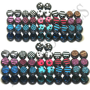 V114-Fake-Cheater-Illusion-Faux-Ear-Plugs-0G-00G-8mm-10mm-White-Blue-Red-Black
