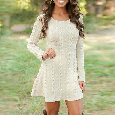 Womens A-line Cable Knit Long Sleeve Knited Sweater Jumper Tunic Party Dress Top
