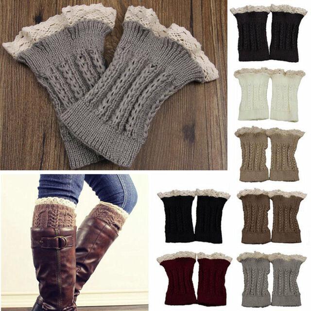 Fashion Women Crochet Knit Lace Trim Winter Leg Warmers Cuffs Toppers Boot Socks