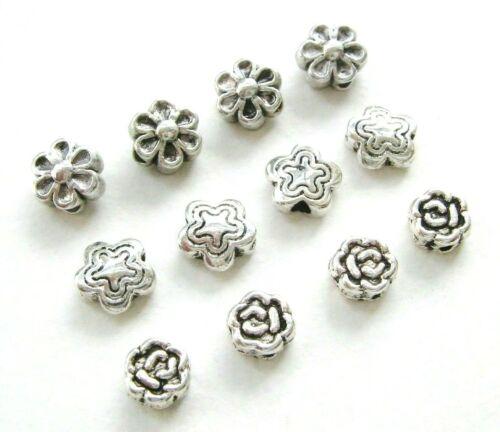 Metal perlas entre perlas spacer flor 5 ~ 6,5mm 20//50//100 unidades serajosy