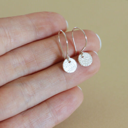 Details about  /U/&C Sundance Irregular Textured Coin Circle Disc .925 Sterling Silver Earrings