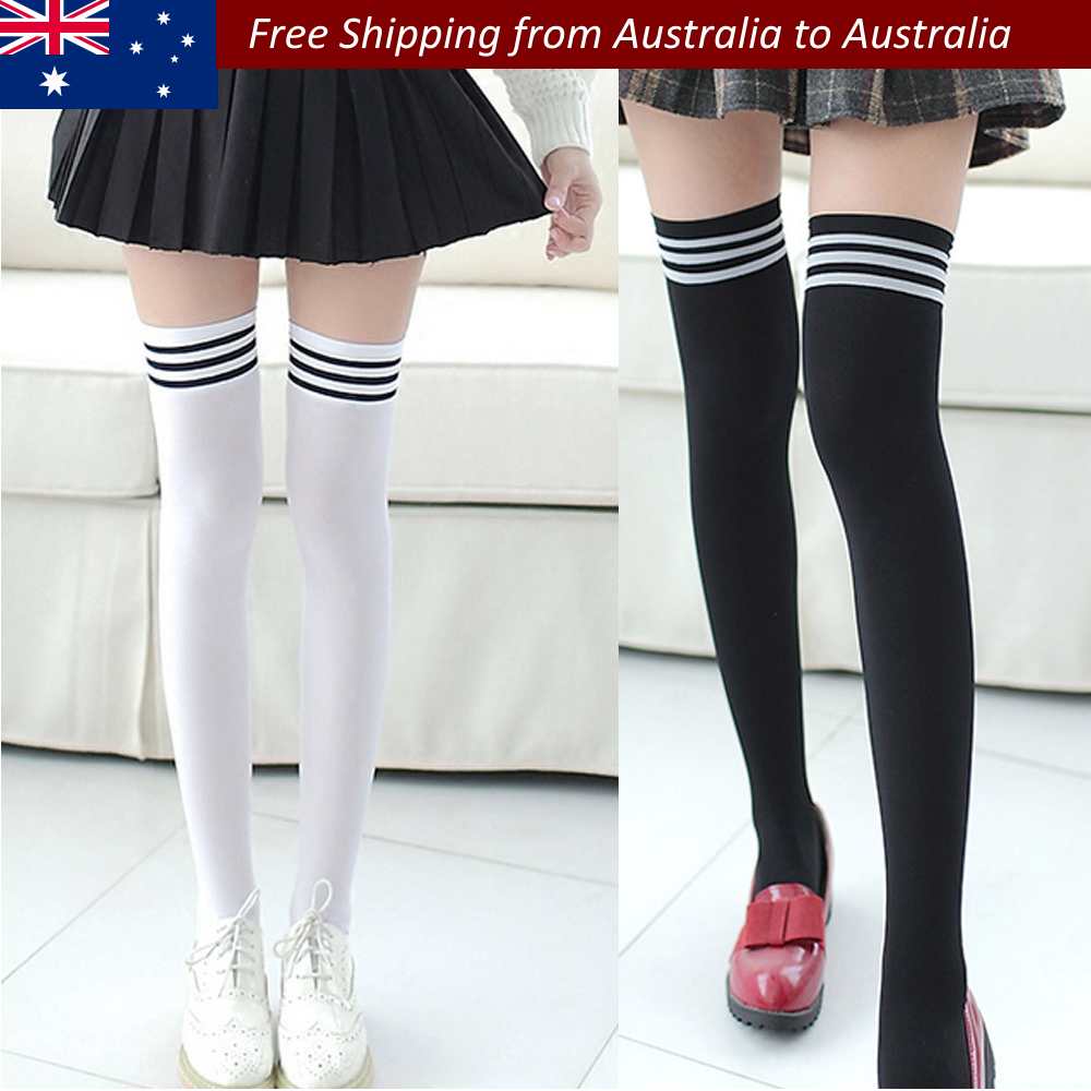 92b7777c6a535 Details about New Fashion Thigh High Over Knee High Socks Girls Women Long  Cotton Stockings