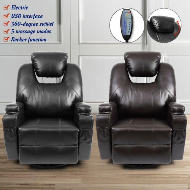 Awesome Electric Rocker Recliner Chair With Massage Heat And Usb Leather Vibrating Sofa Ibusinesslaw Wood Chair Design Ideas Ibusinesslaworg