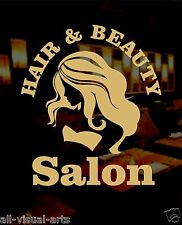 Hair and Beauty window sticker for business shops in GOLD adhesive vinyl fablon