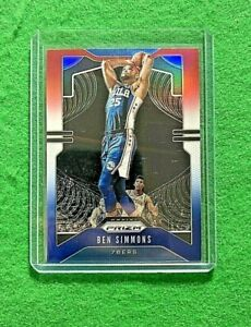 BEN-SIMMONS-PRIZM-RED-WHITE-BLUE-CARD-76ERS-2019-20-PRIZM-BASKETBALL-REFRACTOR
