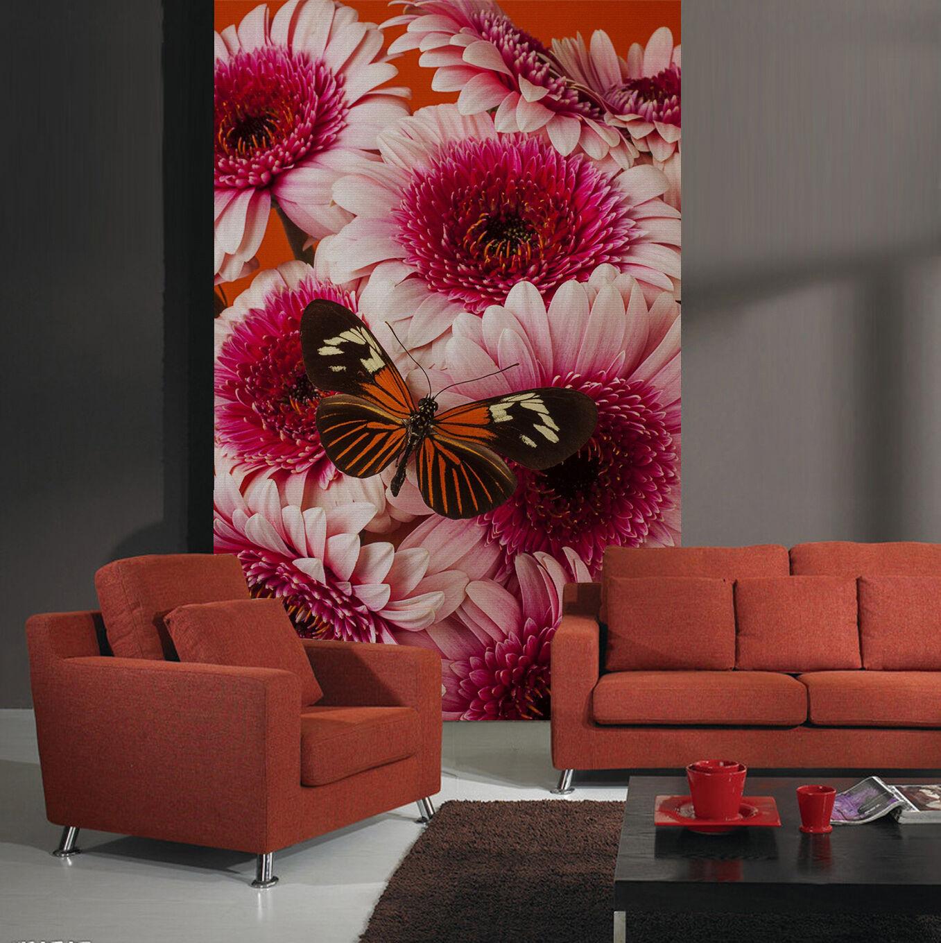3D Flowers Butterfly 02 WallPaper Murals Wall Print Decal Wall Deco AJ WALLPAPER
