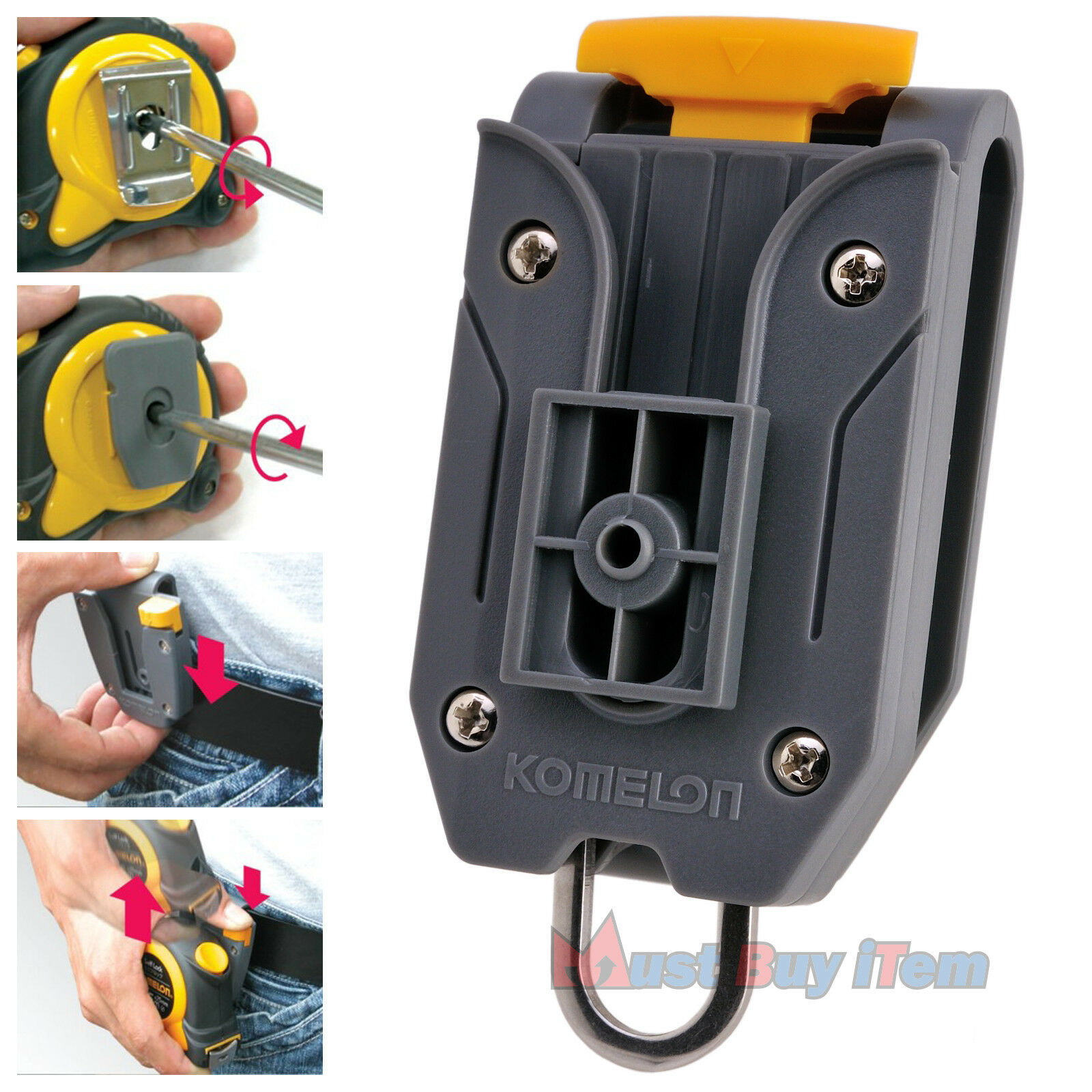 Wholesale 20 Komelon Komelon Komelon Measuring Tape Waist Belt Clip Holder with Tool Hanger Ring d2ff52