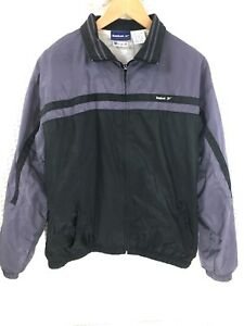 0d9316240c0f9 Details about Vintage Reebok Windbreaker Jacket sz Large Full Zip Retro 80s  90s Black Purple