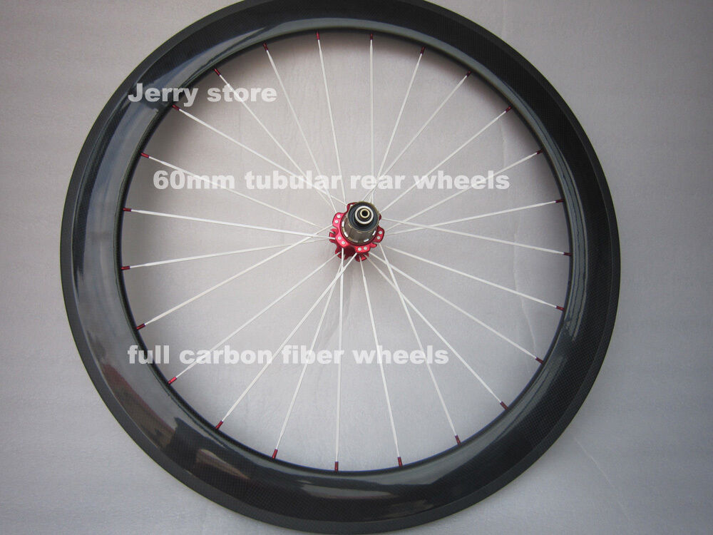 60mm tubular rear bike wheels  700C full carbon fiber,with brake pads 25mm width  with cheap price to get top brand