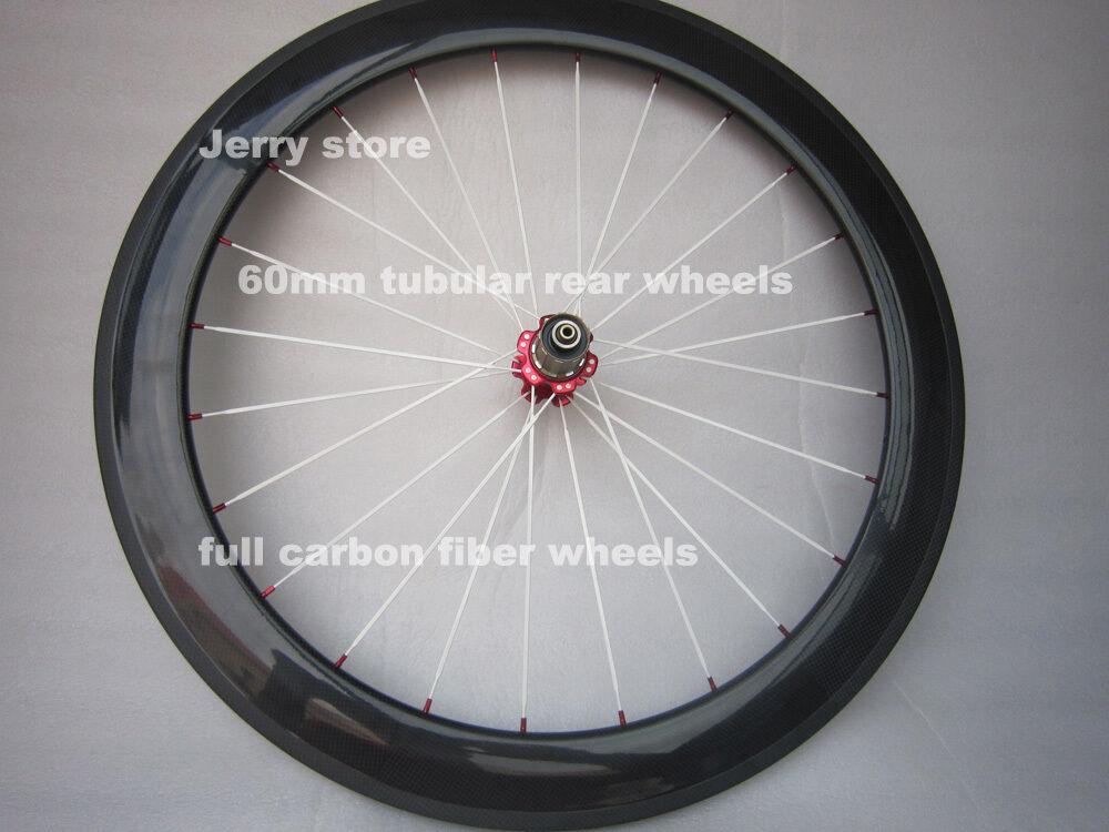 60mm tubular rear bike wheels  700C full carbon fiber,with brake pads 25mm width  for sale