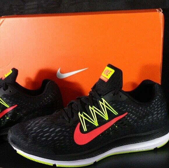 new concept 492df 9c195 NEW! Nike Zoom Winflo 5 Mens AA7406-004 Black Crimson Volt Running Shoes SZ  10