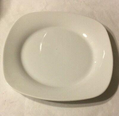 """The PALM RESTAURANT White Square 7/"""" Dessert Plate EUC"""