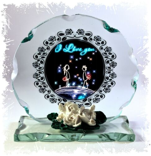 I Love You Cut Glass Round Plaque Cutie Limited Edition  #4