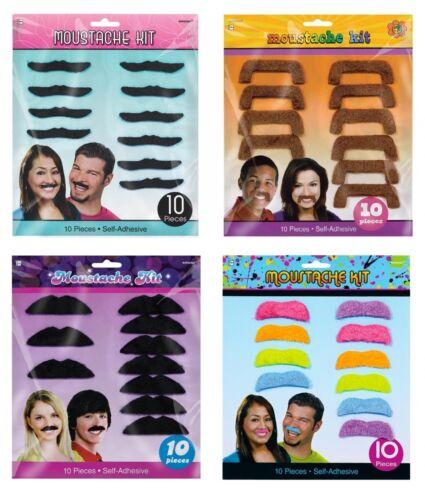 50er Packung mit 10 Verschiedene Ausführungen Kostüm Schnurrbart Kits