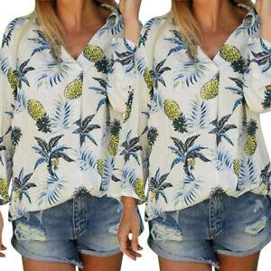 Women-Long-Sleeve-V-Neck-Pineapple-Print-Floral-Tops-Blouse-Shirt-T-shirt-Blouse