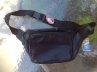 Black Leather Fanny Pack Waist Bag Travel Belt Hip Purse