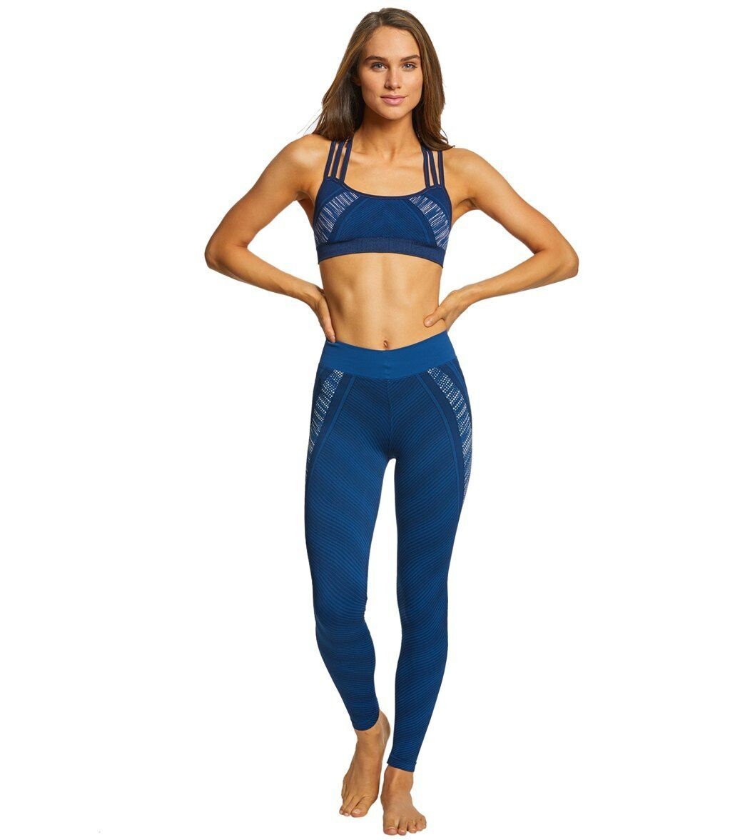 Blau Leggings Yoga Set Top Bottom NUX In A Row Leggings Blau Yoga Running Small NWT 0817c9