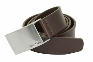 cb5bb82516a Mens Leather Belt by Calvin Klein  Mino Plaque