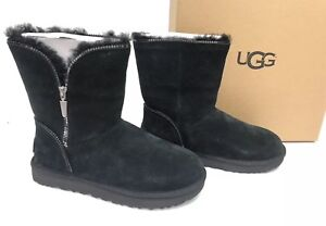 8668b09048a Details about UGG Australia Classic Short Florence Black Suede Sheepskin  Boots Womens 1013165