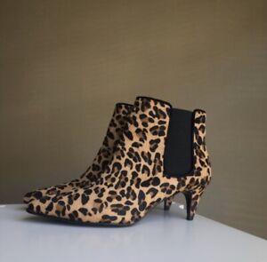 kitten heel leopard print ankle boots