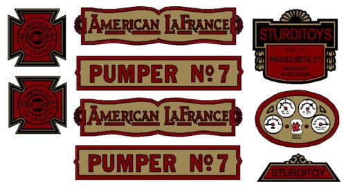7 DECAL SET STURDITOYS  AMERICAN LAFRANCE PUMPER NO