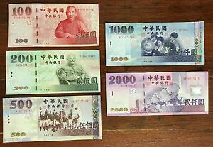 Set Of Taiwan Dollar 2000 1000 500 200 100 Rare Bills Twd Mint Republic Of China Ebay