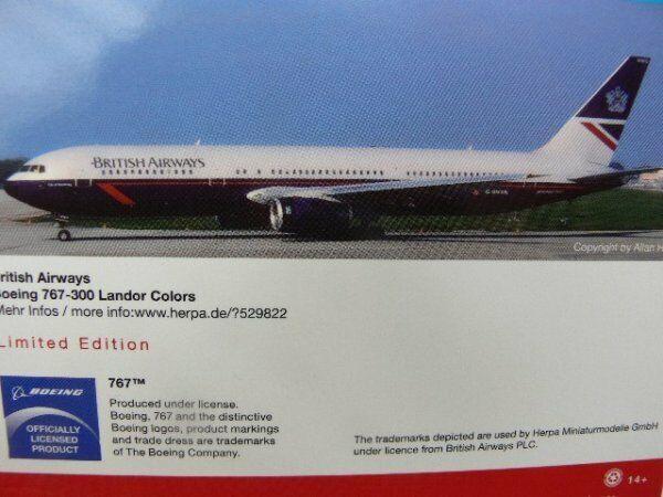 1 500 Herpa Wings British Airways Boeing 767-300 Landor Farbes 529822  | Online-Shop
