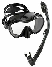 Cressi Scuba Diving Snorkeling Freediving Silicone Mask Snorkel Set Black Water