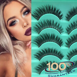 5Pairs-Long-Natural-Thick-Handmade-Fake-False-Eyelashes-Eye-Lashes-Also-Mink-New