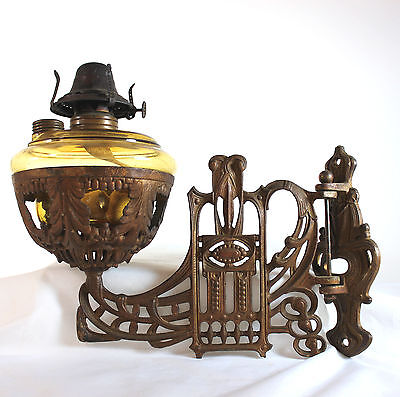 Antique Art Nouveau wall mounted oil lamp brown glass B&C Co Ca 1880