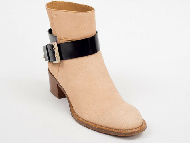 New Chloe Beige  Leather  Booties Size 39 US 9  Retail  915