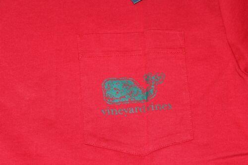 NWT Vineyard Vines Mens Small LS Vintage Whale Fill Vermilion Pocket T-Shirt