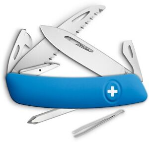 Swiza D06 Swiss Pocket Knife Stainless Steel Blades Blue Synthetic Handle 601030