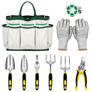 Garden Tools Set- 9 PCS Gardening Kit with Plant Rope Trowel Weeder CULTIVATOR