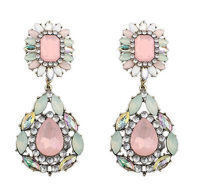 Fashion Luxury Jewelery Big Water Drop Resin Rhinestone Flower Stud Earring Free