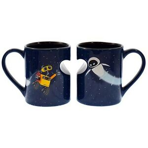 New authentic disney mug set wall e and eva in gift box adorable ebay - Walle and eve mugs ...