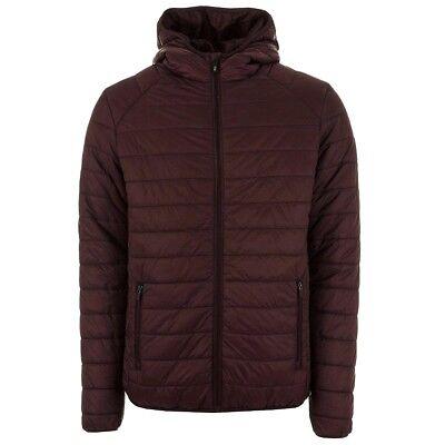 Henleys Men's Destruct Hooded Padded Coat Jacket Burgundy