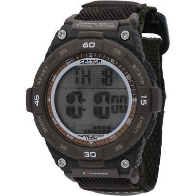 Orologio Uomo SECTOR EX-02 R3251594003 Tessuto Marrone Chrono Alarm Dual Time